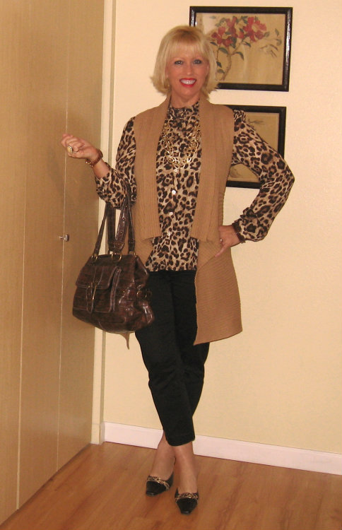 Michael Kors, leopard shoes, leopard blouse