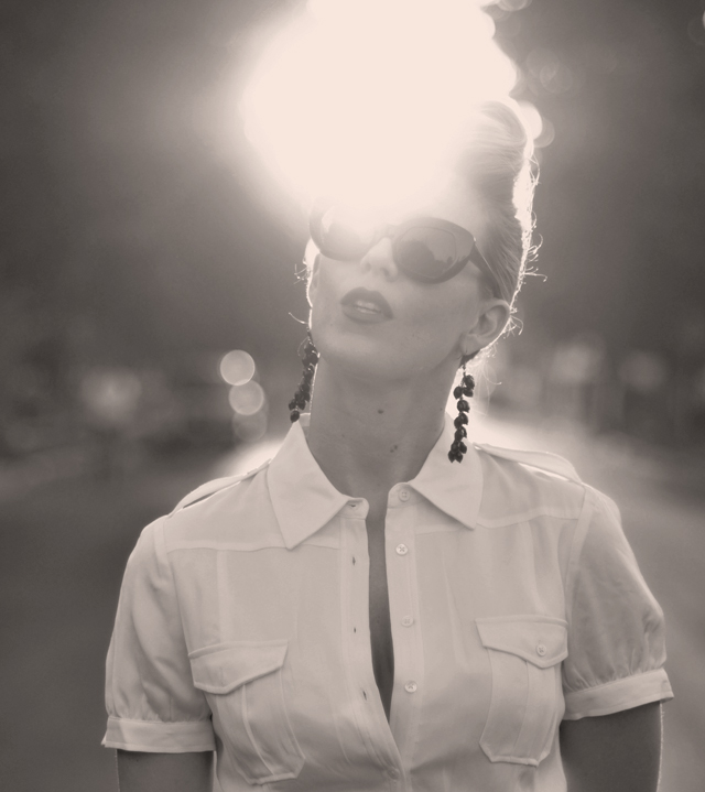 vintage sunglasses, black and white photo