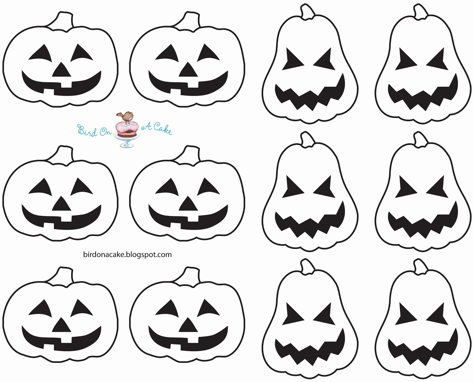 Bird On A Cake: Jack-O-Lantern Cupcake Toppers with Template