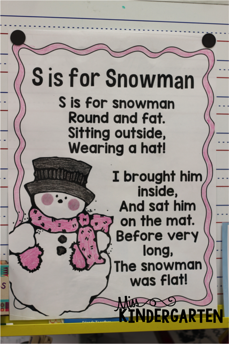 Melted Snowman Poem S is for snowman! - miss kindergarten