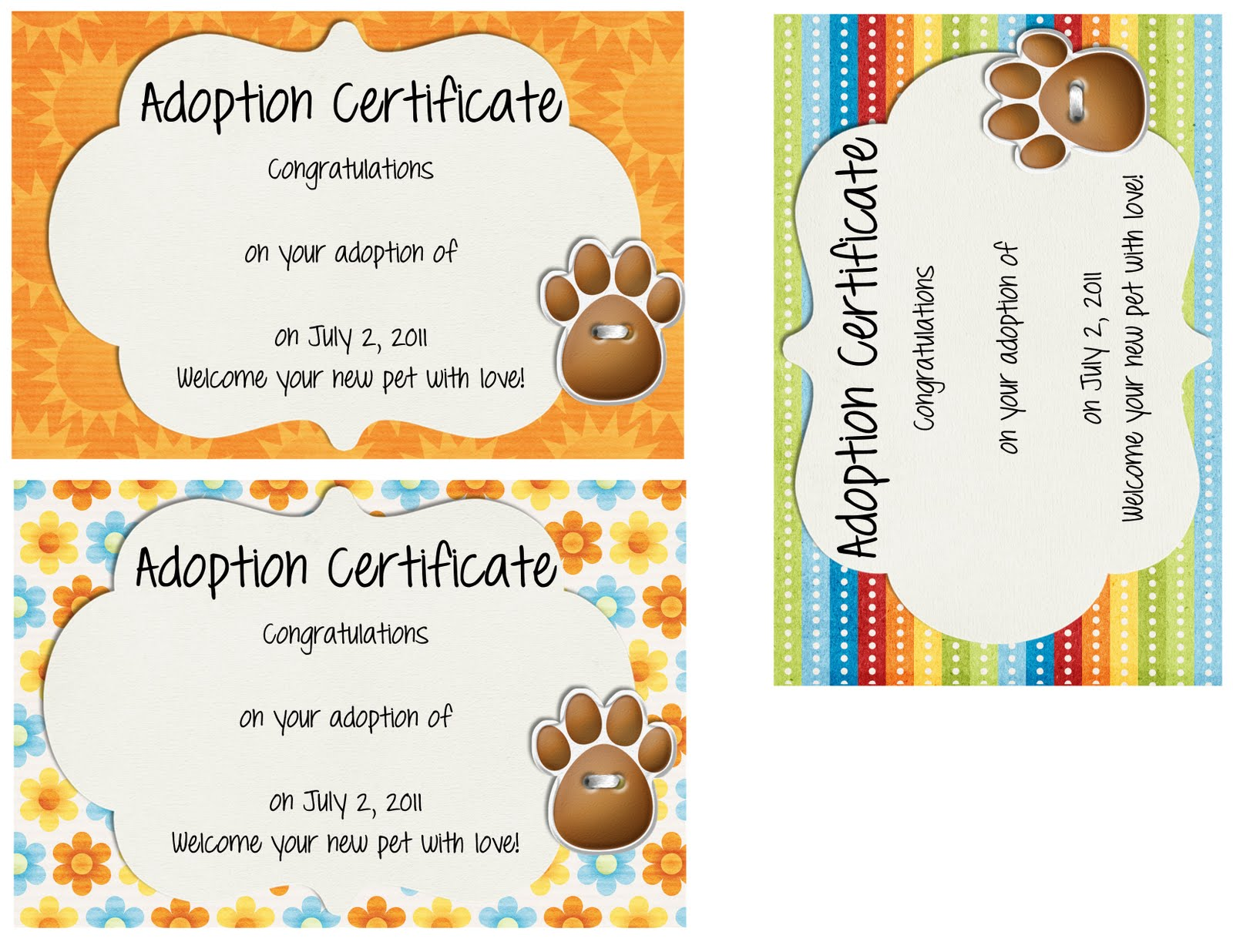 Toy Adoption Certificate Template Mandegarfo