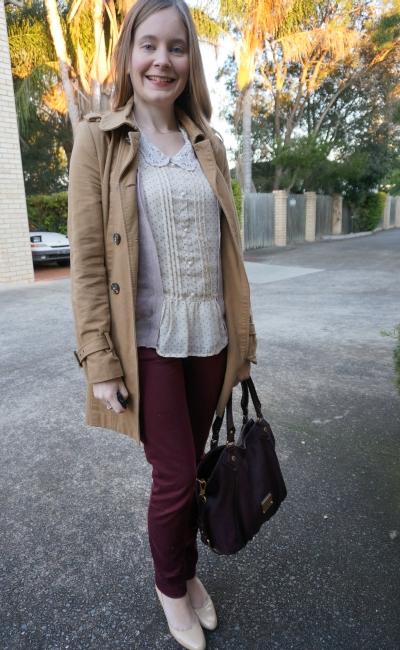 Away From Blue   Maroon Queenslander Origin office wear skinny pants polka dot blouse