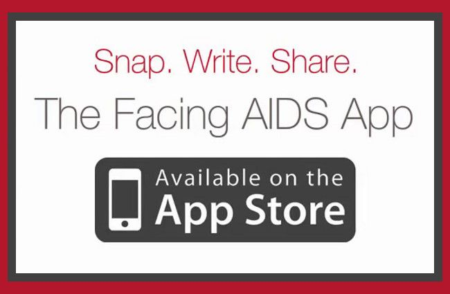 "Screen shot promoting the ios app ""Facing AIDS"""