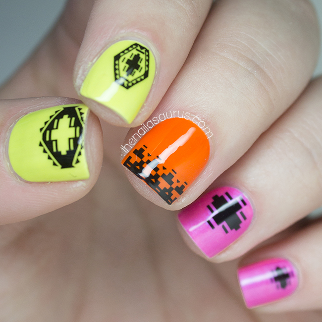 Uk Nail Art Blog Nail Art With Bite: OPI Neons With Nailed Kit Totally Tribal Decals