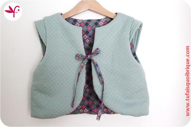 Gilet Molletonné en jersey doublé coton imprimé