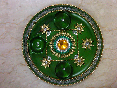 Decorative aarti thali for navratri