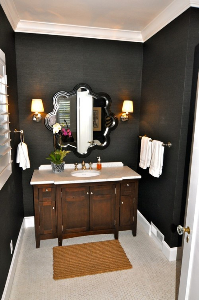 Powder room paint plans desert domicile for Dark paint colors for bathroom vanity