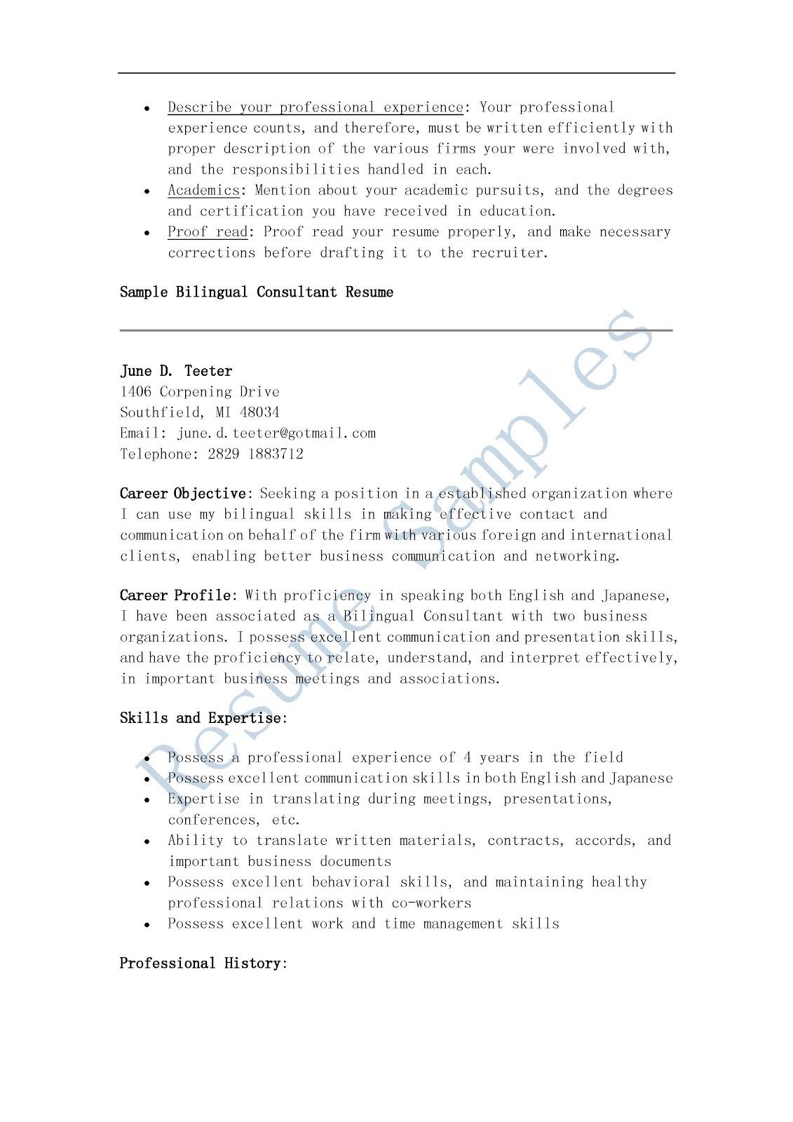 resume sles bilingual consultant resume