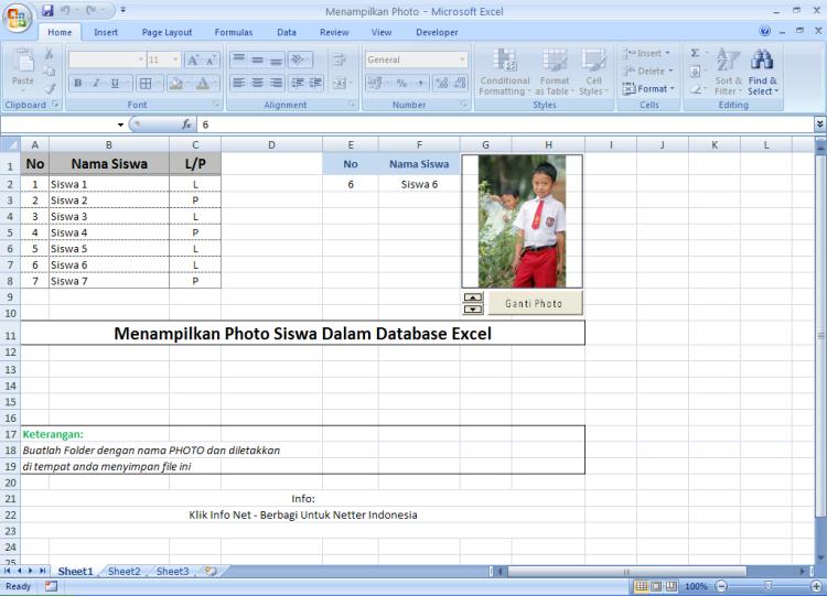 Cara Otomatis Menampilkan Gambar Foto Siswa Ke Dalam Database Excel Klik Info Net