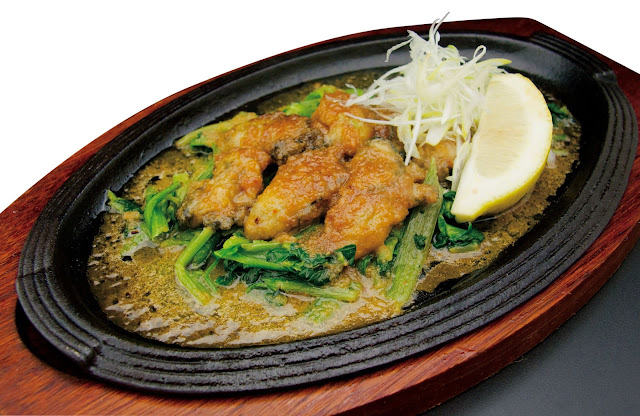 ENBU Suntec City - Oyster and Spinach Teppanyaki With Uni Sauce