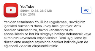 iOs 9 Youtube Güncellemesi