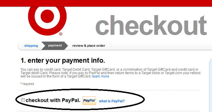 Target payment options online