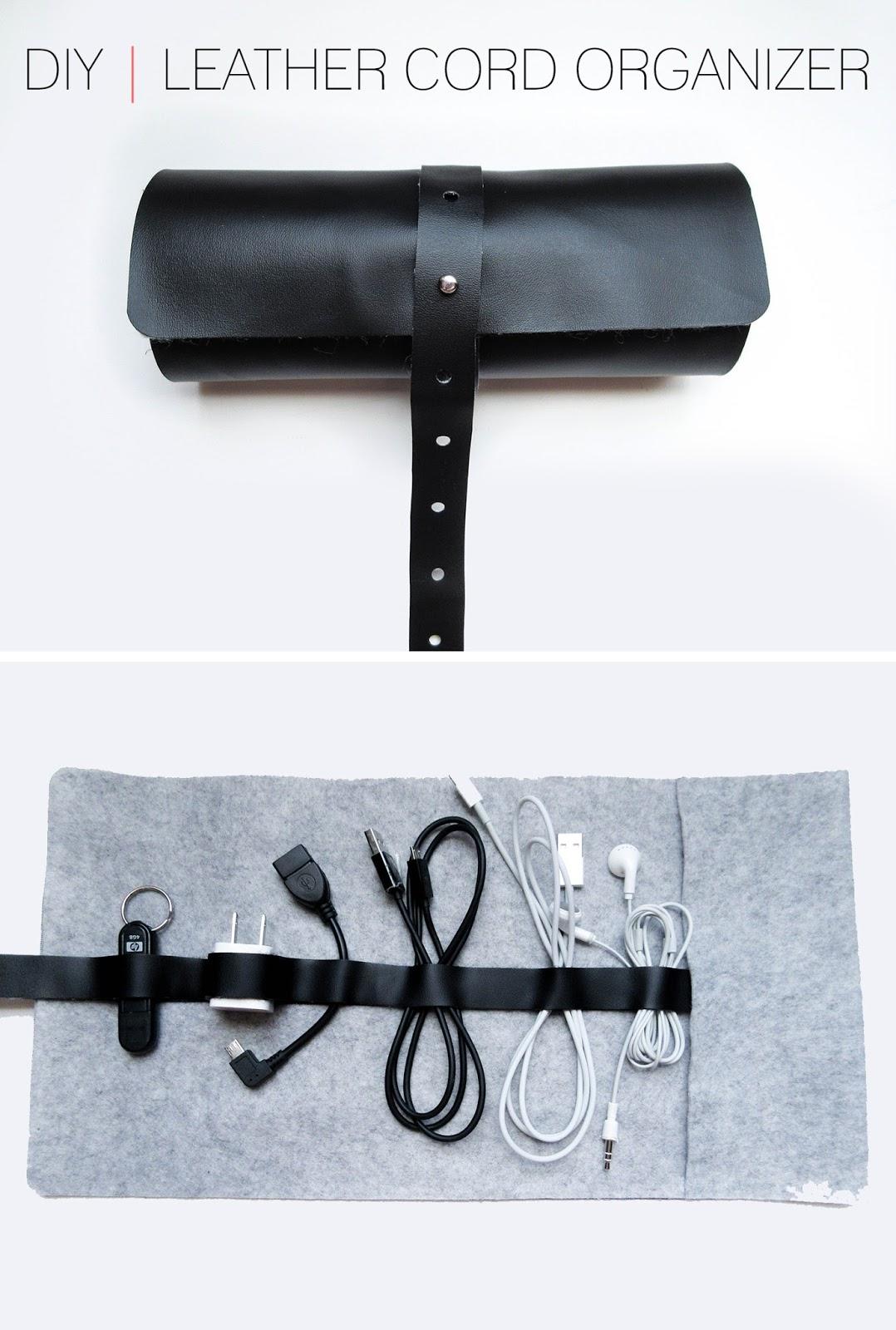 cafe craftea diy leather cord organizer. Black Bedroom Furniture Sets. Home Design Ideas