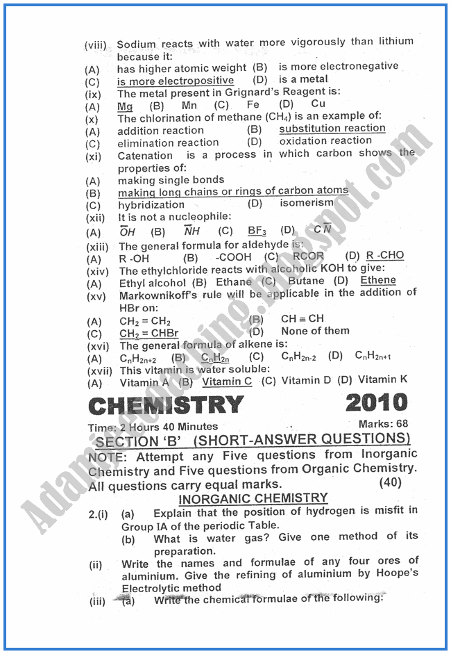 chemistry-2010-past-year-paper-class-XII