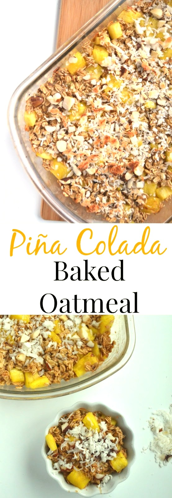 Piña Colada Baked Oatmeal- loaded with fresh pineapple, coconut, oats and Brazil nuts for a nutritious breakfast! www.nutritionistreviews.com