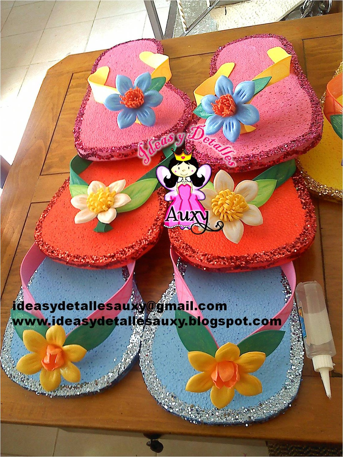 CHANCLAS PARA DECORACION DE FIESTA HAWAIANA
