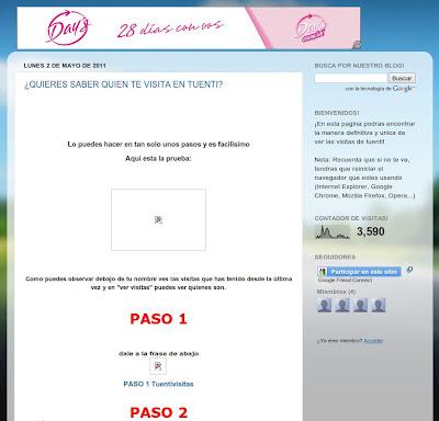 Imagen de la página que supuestamente dirá al usuario quién visita su perfil de Tuenti