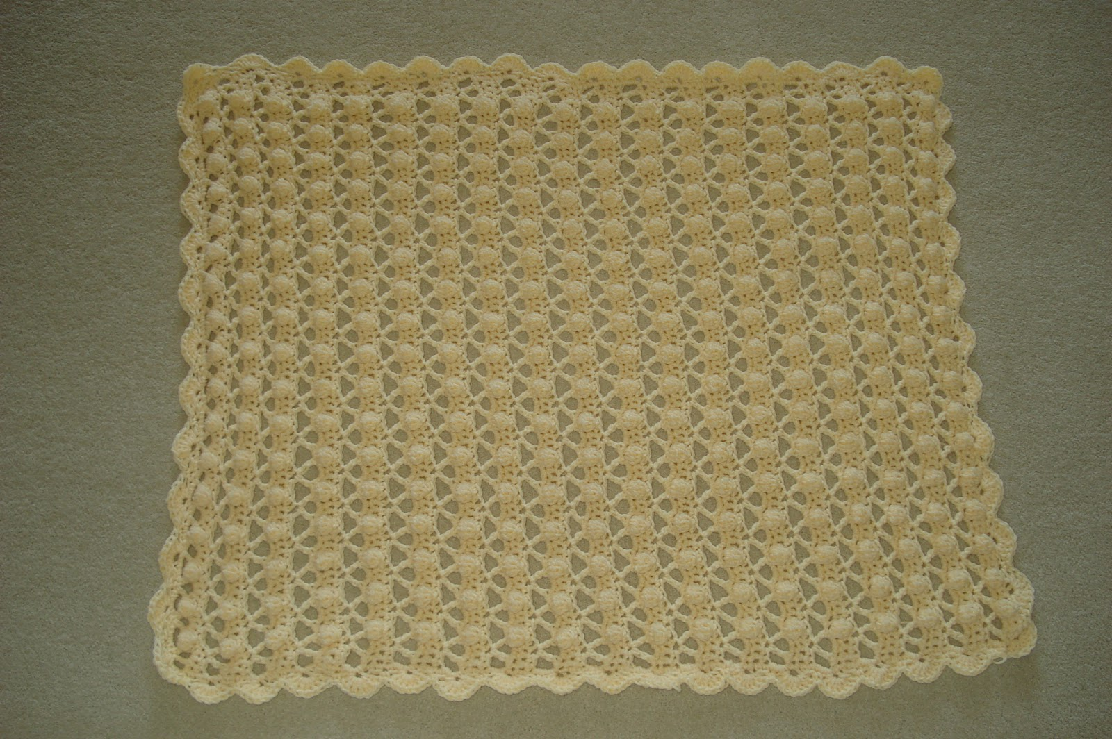 Elle Is For Living!: Crocheted Popcorn Stitch Baby Blanket