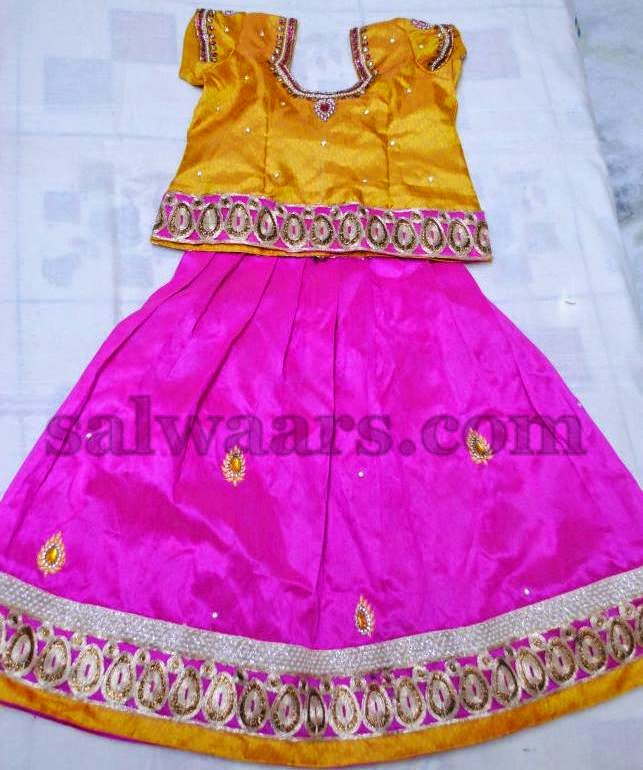Kids Skirt with Gold Work in Pink