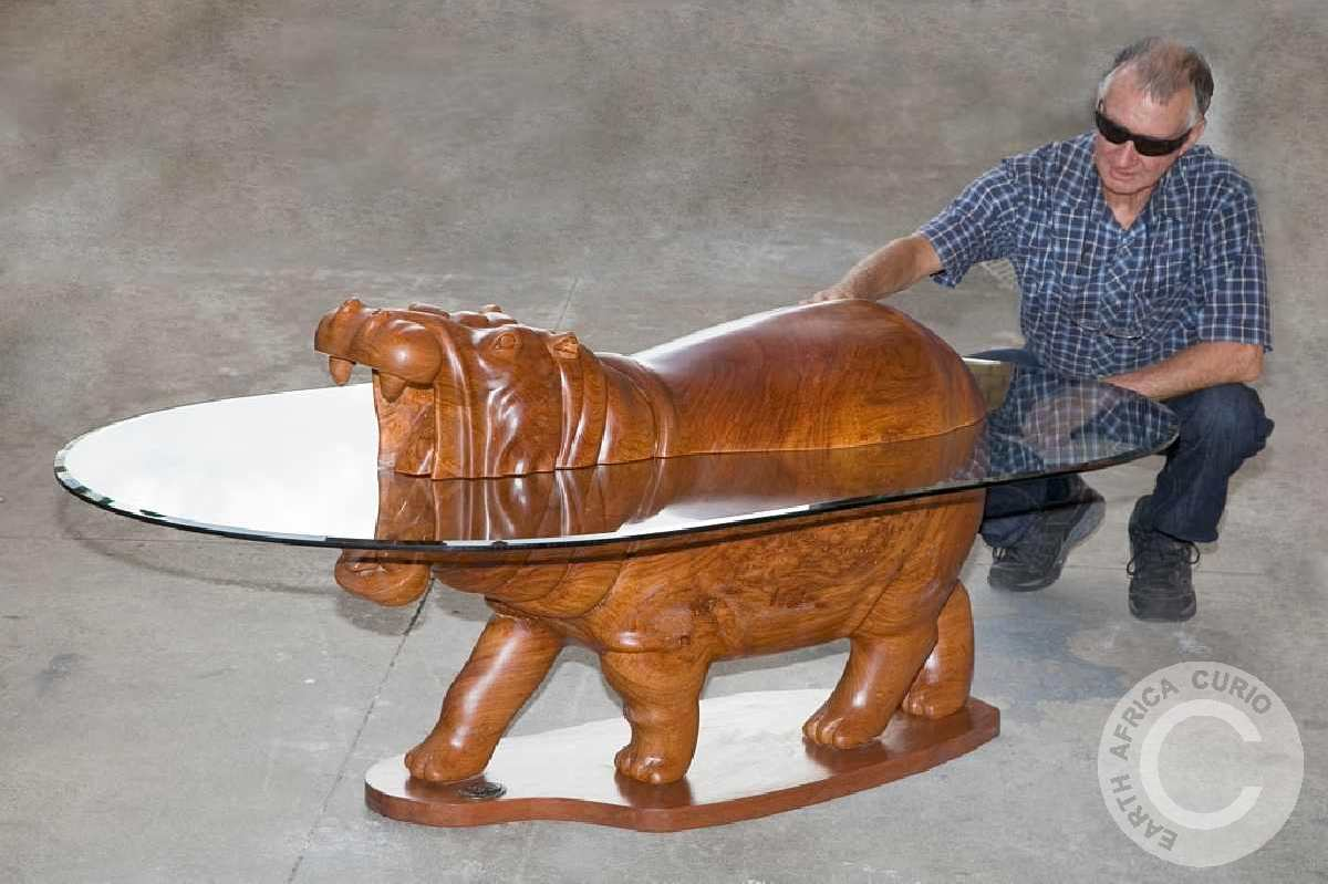 AFRICAN HIPPO COFFEE TABLE