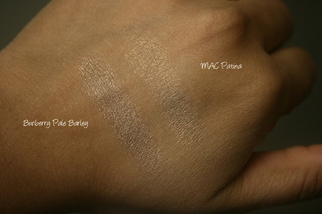Burberry Beauty Sheer Eye Shadow in Pale Barley No.22 vs MAC Patina swatches