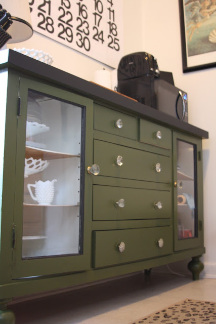 dresser as a sideboard in the kitchen painted in Behr Alligator Skin