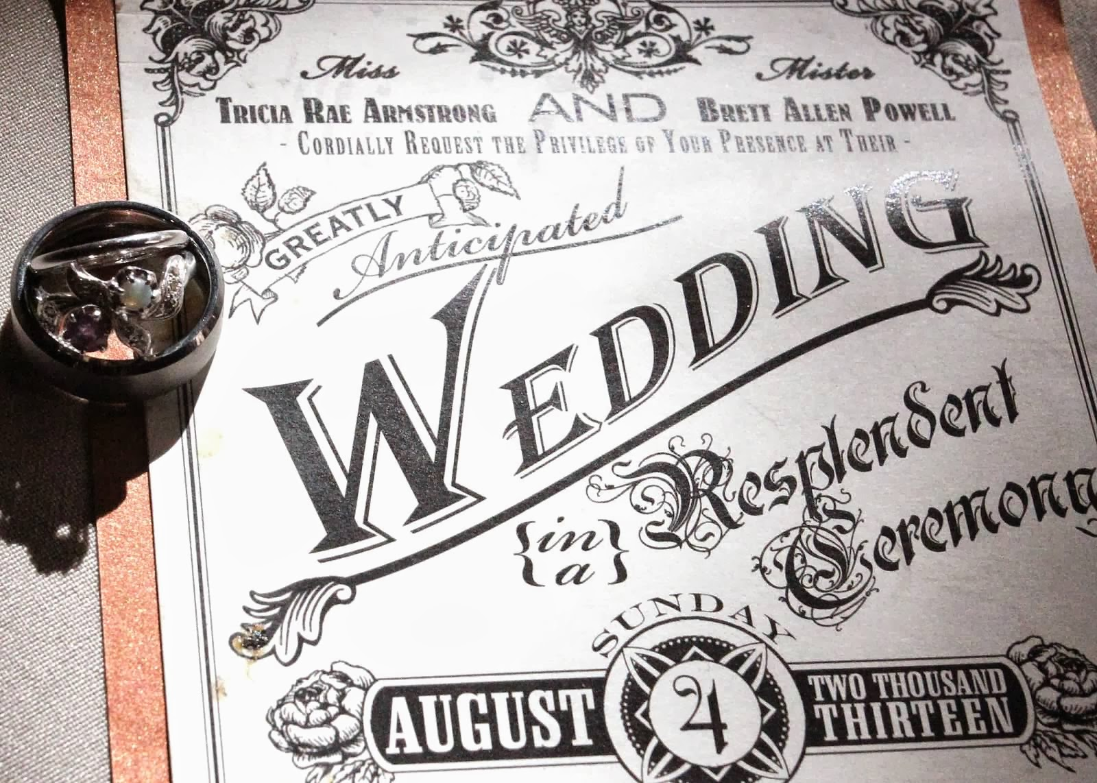 a steampunk wedding invitation in various color palettes - Steampunk Wedding Invitations