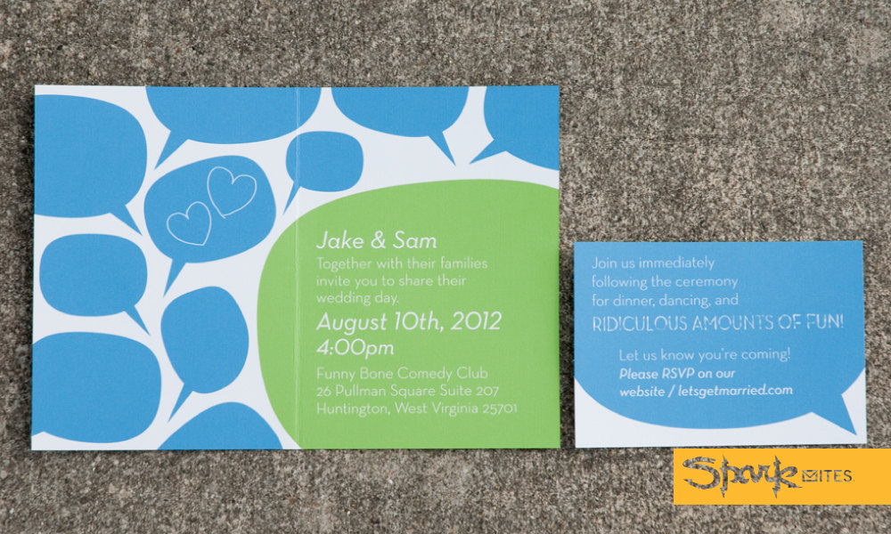 SPARKVITES SPEECH BUBBLE WEDDING INVITATION