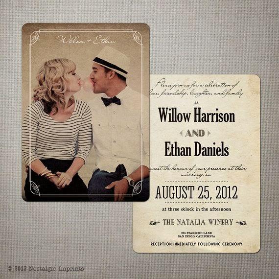 invitación de boda vintage personalizada con foto de los novios