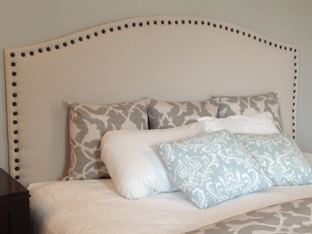 Two It Yourself: DIY Drop Cloth Headboard with Front Nail Head Trim ...
