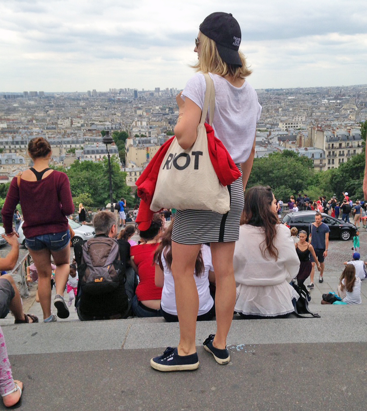 Navy Superga sneakers, Joe Fresh striped mini skirt, Suburban Riot tote bag, h&m linen tee, Bow & Drape backwards FOR cap, Paris from the Sacré Coeur