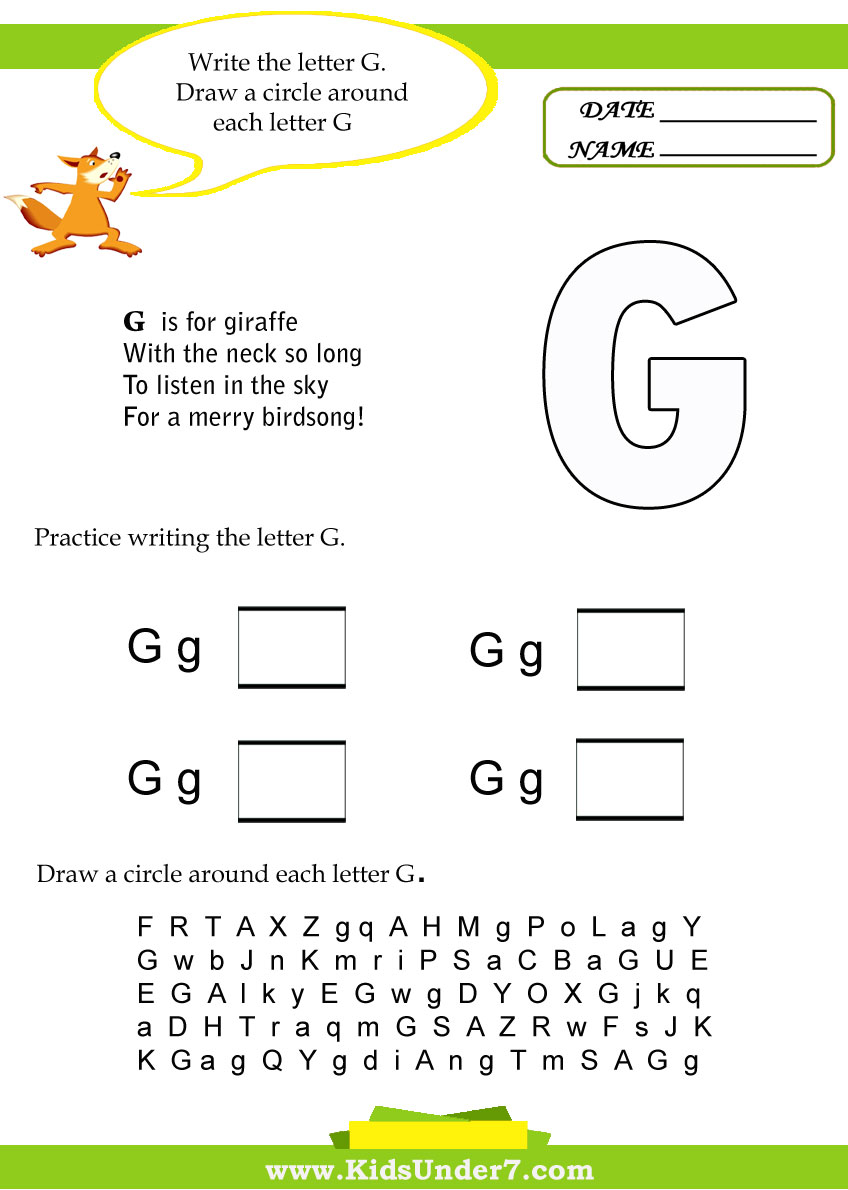 Worksheets Letter G Worksheets kids under 7 letter g worksheets worksheets