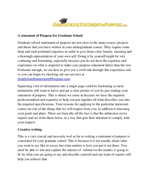 sample personal statement for graduate school