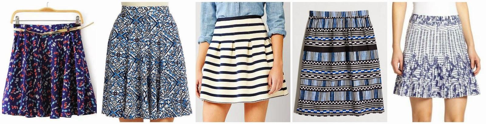 Romwe Blue Candy Print Pleated Skirt $9.99 (regular $14.99)  Context Batik Print Skater Skirt $18.02 (regular $68.00)  Gap Stripe Flared Skirt $29.99 (regular $54.95)  J. Crew Factory Printed Stretch Cotton Skirt $52.50 (regular $85.00)  BCBGMAXAZRIA Peyton Printed Knit Skirt $91.20 (regular $228.00) alternate link