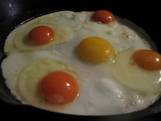 Bright yolks of eggs frying in a pan in Pittsburgh