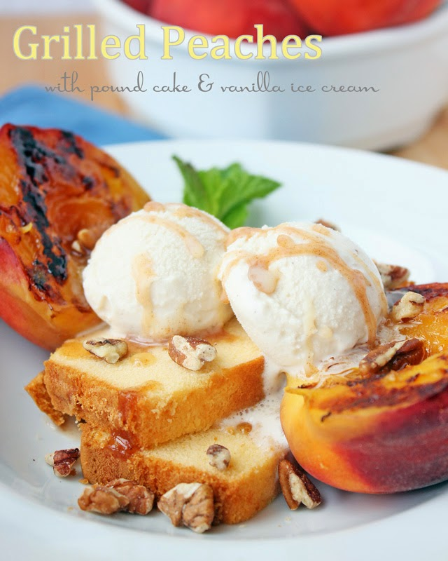 Wonderful summer grilled peaches with pound cake and vanilla ice cream | Recipe by chelsa-bea.com #MyPicknSave #shop