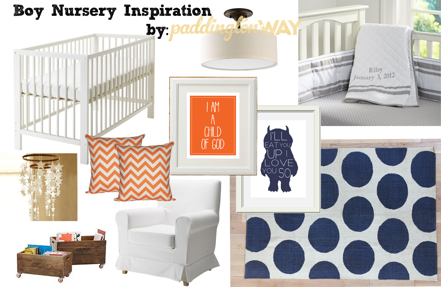 Classic Boy navy Blue amp Orange Nursery Paddington Way