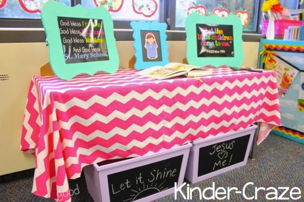 prayer table and gathering space in a Catholic kindergarten classroom