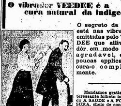 Propaganda do aparelho vibrador que prometia solução para males do aparelho digestivo.