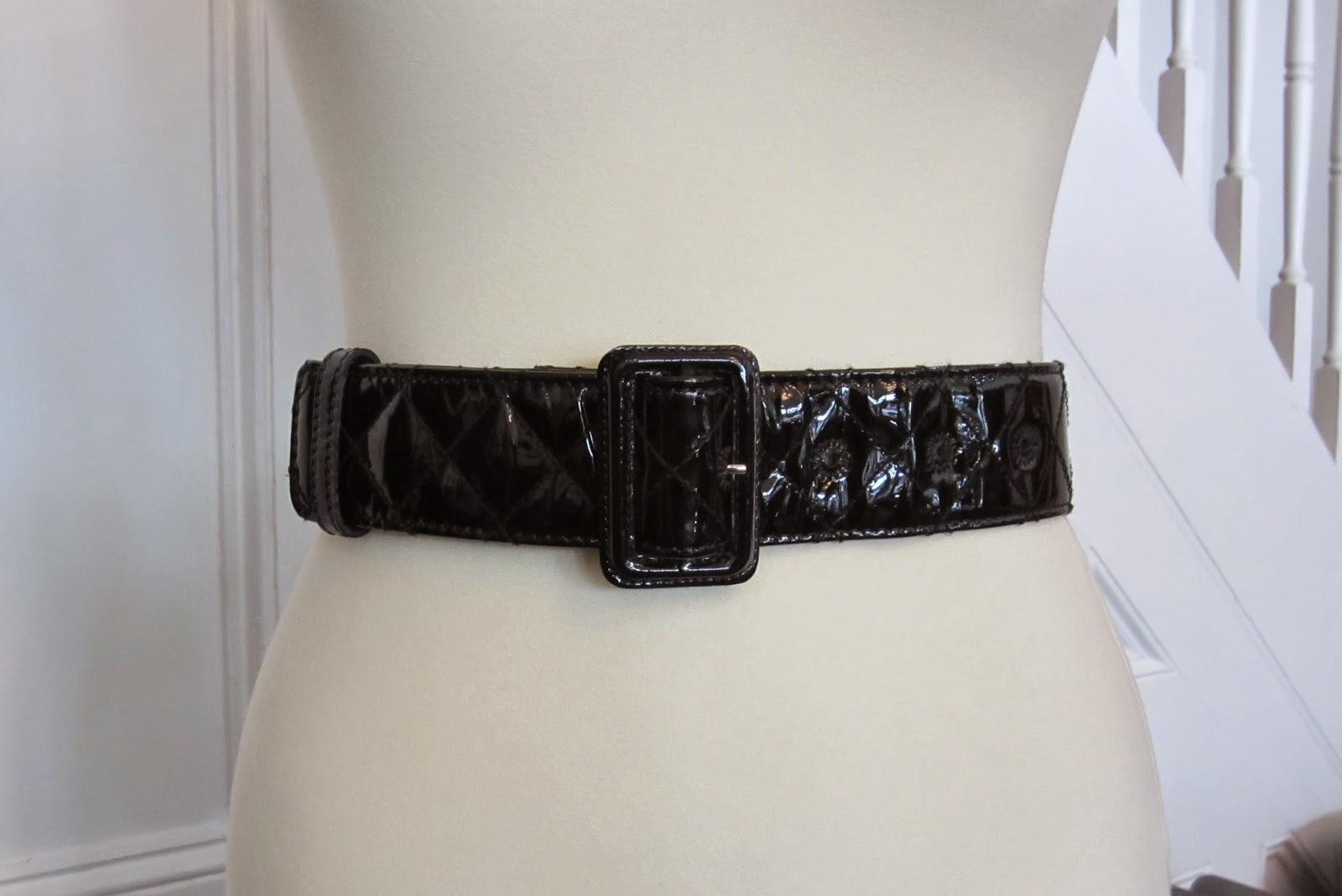 Burberry Black Patent Leather Quilted Belt