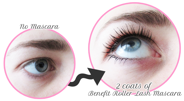 a picture of close up eye of results of benefit roller lash mascara
