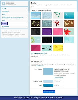 Opciones de configuración de diseño de Twitter
