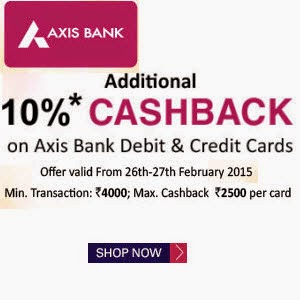 Snapdeal: Buy AXIS Bank Cards 10% Cashback on Rs.4000