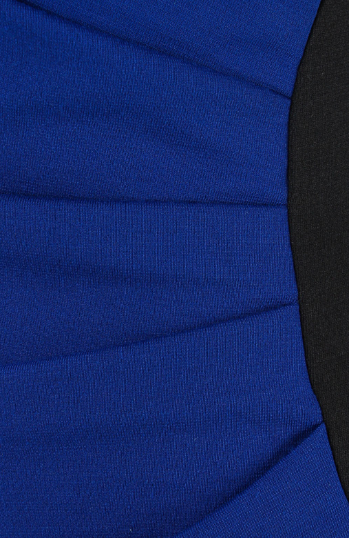 Cobalt Blue Shell Side Pleat Dress with Contrast Panel & Sleeves