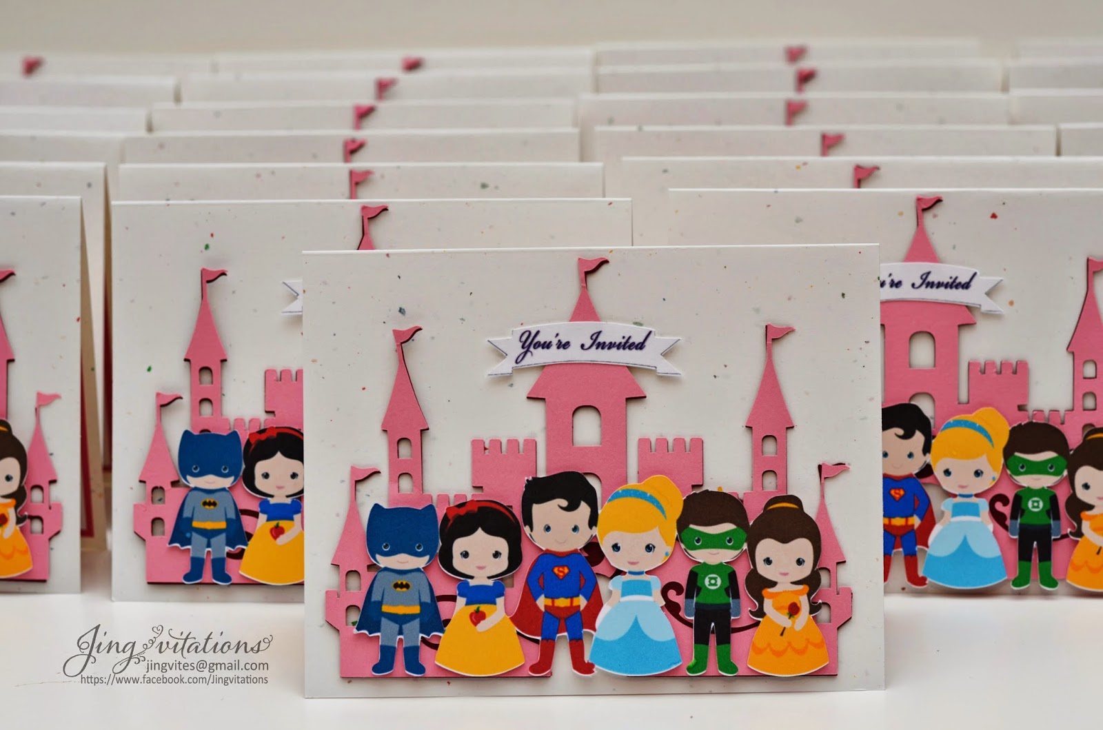 disney princess and superhero invitations