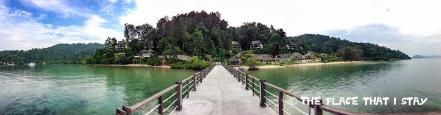 Malaysia - Kinabalu - Gaya Island Resort - A panoramic view of the resort from the jetty