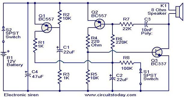 nonstop free electronic circuits project diagram and schematicselectronic siren circuit diagram