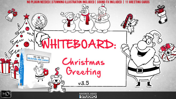 VideoHive Holidays Whiteboard Greetings Pack