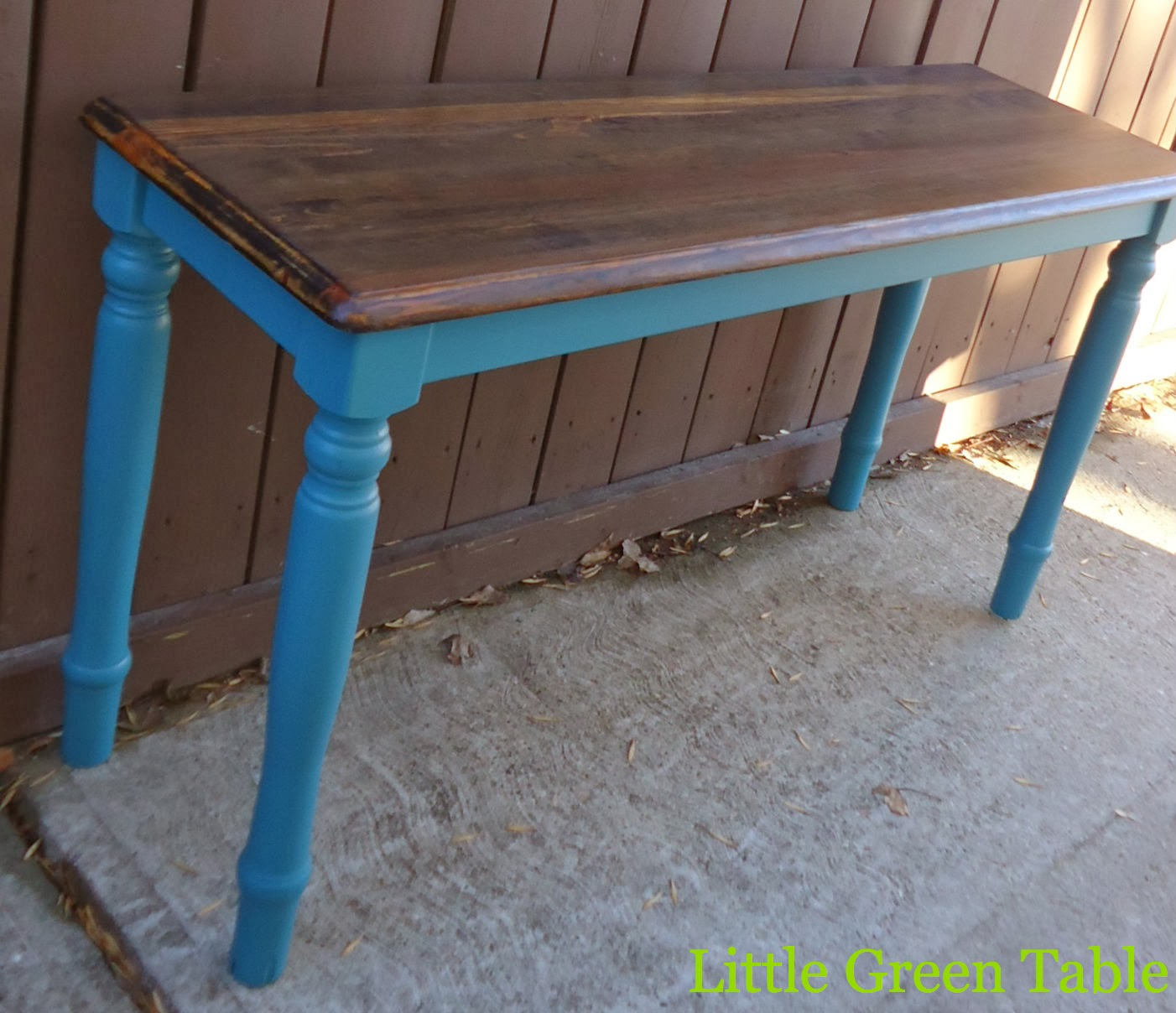 Teal Entry Table With Stained Top