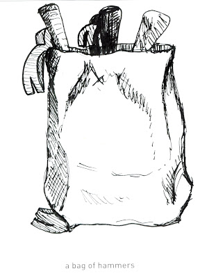642 Things to Draw 46 - A Bag of Hammers - Pen and Ink by Ana Tirolese